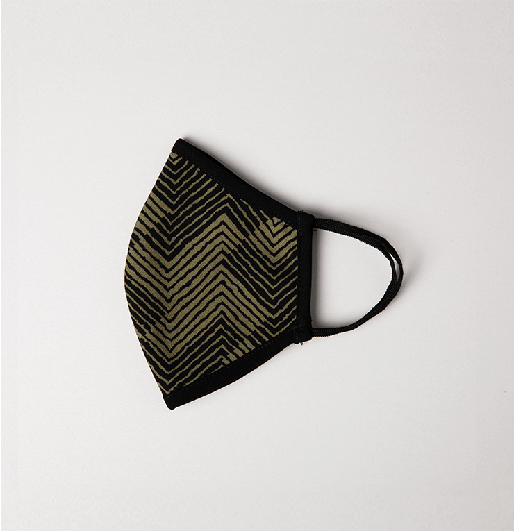 Black and Olive Green Zig Zag Adult Protective Reusable Cloth Mask - Antibacterial Antimicrobial Fabric (Silver Ion)
