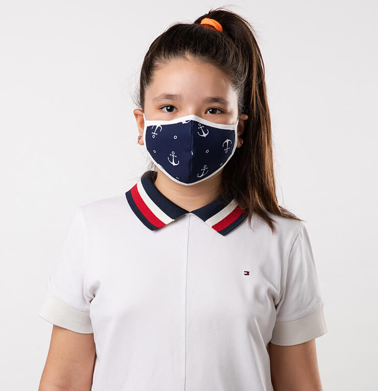 Navy Blue and White Navy Theme Kids Mask - Antibacterial Antimicrobial Fabric (Silver Ion)