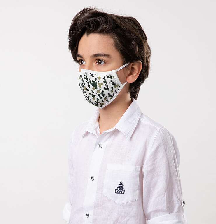 White and Green Camouflage Kids Mask - Antibacterial Antimicrobial Fabric (Silver Ion)