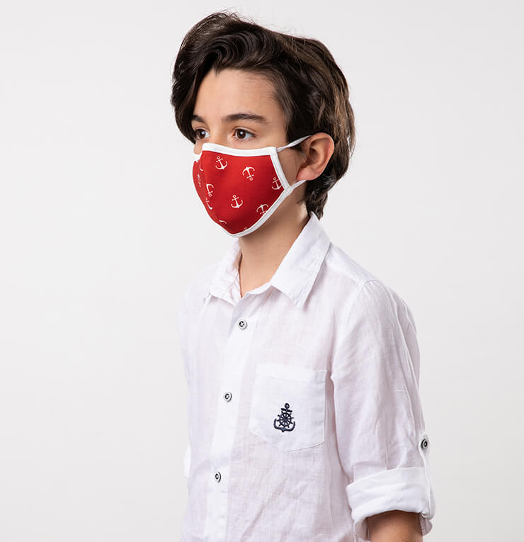 Red and White Navy Theme Kids Mask - Antibacterial Antimicrobial Fabric (Silver Ion)