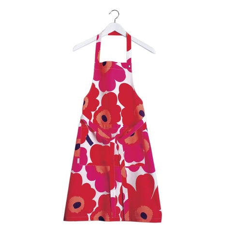 Pieni Unikko Apron, red & white