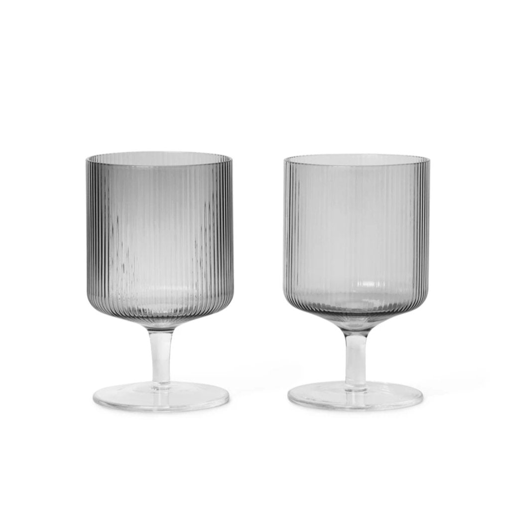 Ripple Wine Glasses 2pc smoked grey