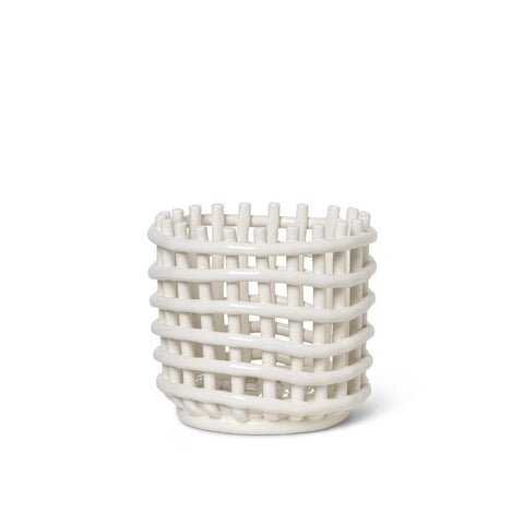 Ceramic Basket Off-White Small