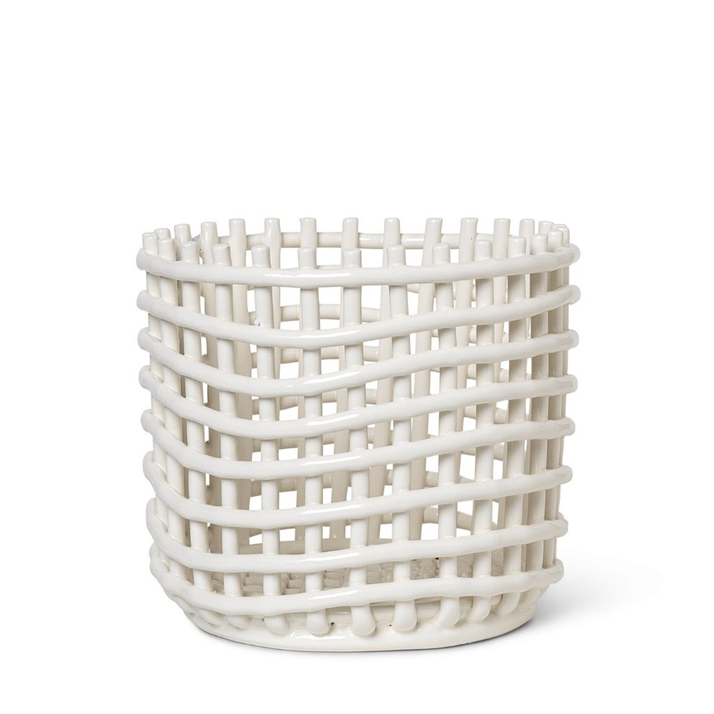 Ferm Living Ceramic Basket Off-White Large