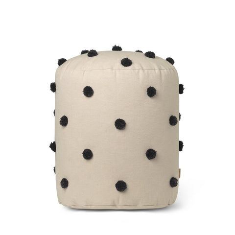 Dot Tufted Pouf Sand/Black