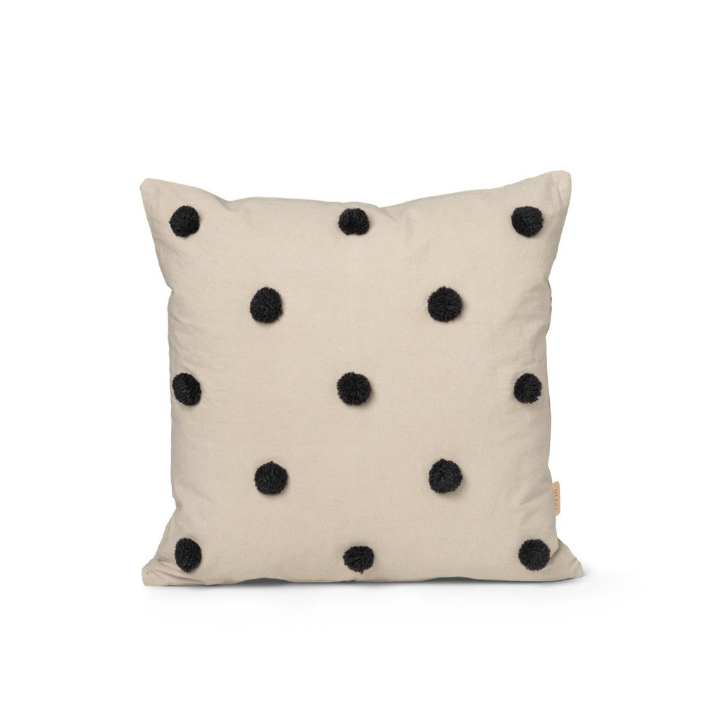 Ferm Living Dot Tufted cuscino sabbia/nero