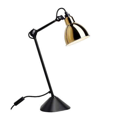 Lampe Gras N°205 table lamp, round shade, black & gold