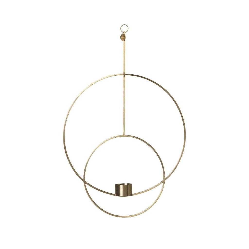 Hanging tealight deco circular brass by Ferm Living