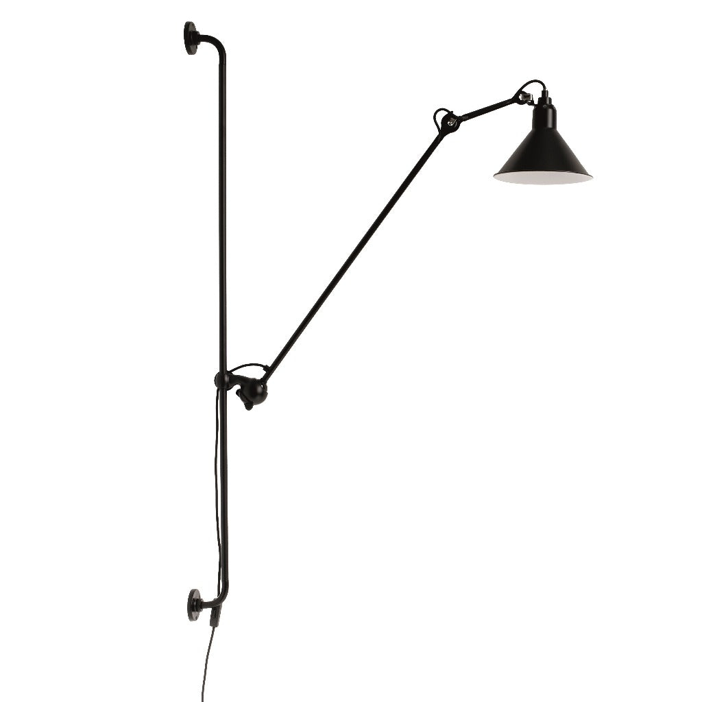 DCW éditions N°214 Lampe Grass Wall Lamp, conic shade, black