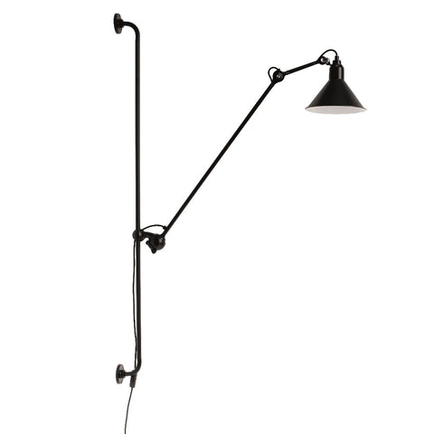 Lampe Gras N°214 wall lamp, conic shade, black