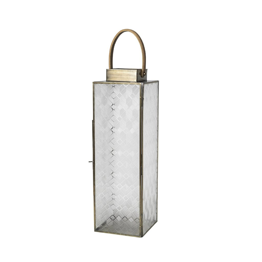 Lifa Lantern with antique brass finish and leather handle by Broste