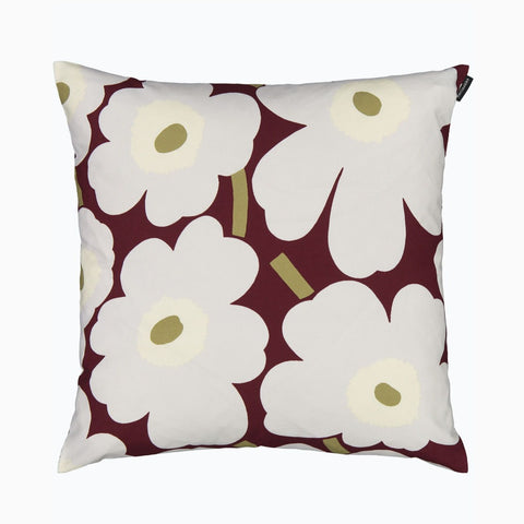Pieni Unikko Cushion Cover, dark red, light gray & off-white 45x45 cm