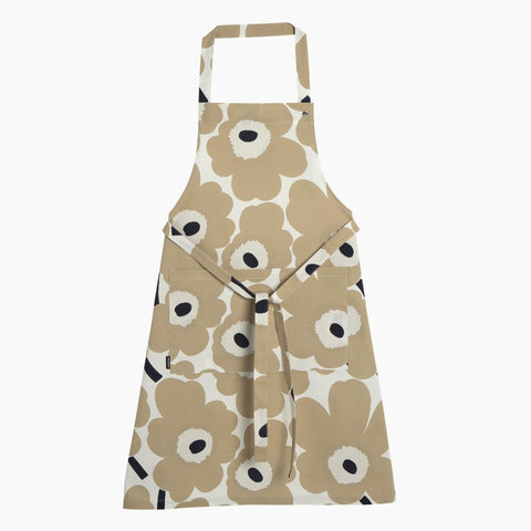 Pieni Unikko Apron, off-white, beige & dark blue