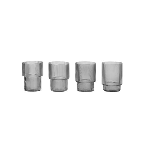 Ripple Glasses set of 4 smoked grey