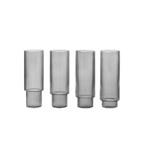 Ripple Long Drink Glasses 4 pcs smoked grey