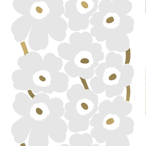 Unikko heavyweight cotton sateen, gold, grey & white 52€/m