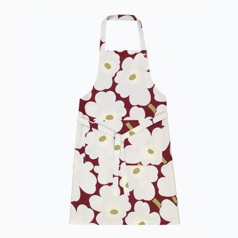 Pieni Unikko Apron, dark red, light gray & off-white