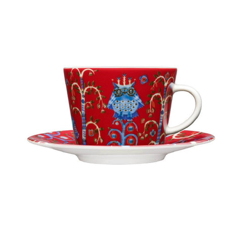 Taika coffee cup & saucer, red