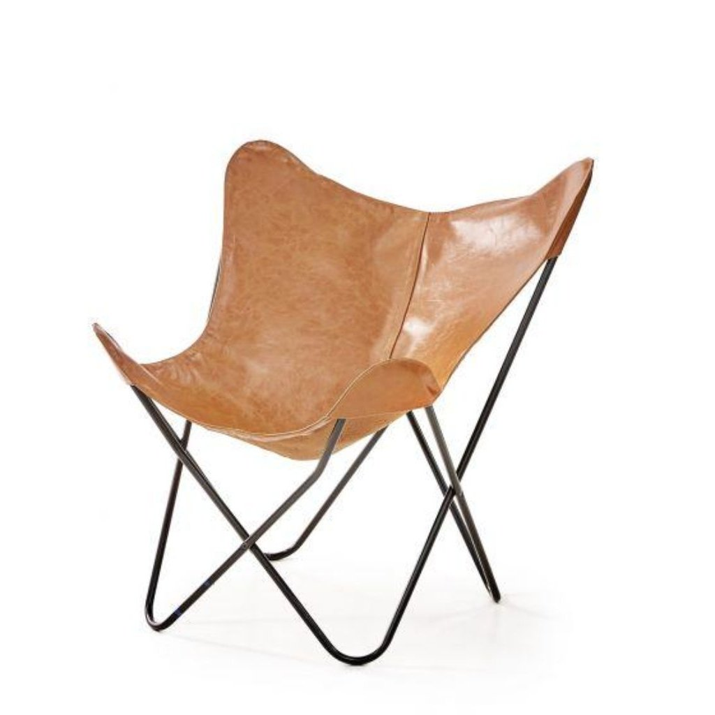 Varax butterfly chair with cognac leatherette