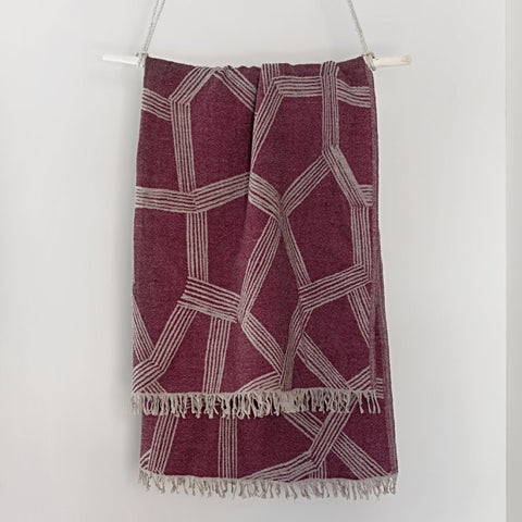 Himmeli wool blanket, bordeaux