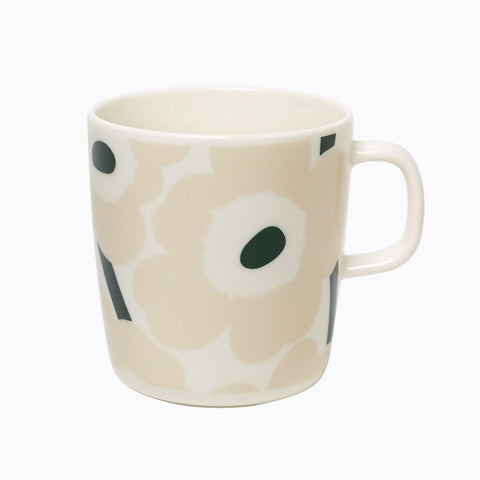 Oiva Unikko Mug 4 dl, beige, dark green & white