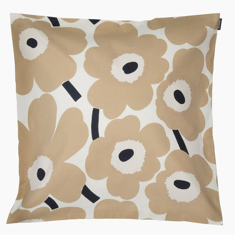 Pieni Unikko Cushion Cover, off-white, beige, dark blue 50x50 cm