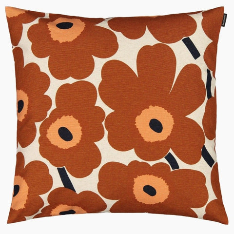 Pieni Unikko Cushion Cover, cotton & chestnut 50x50 cm