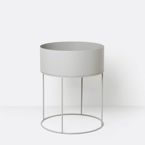 Plant Box Round - Light Grey