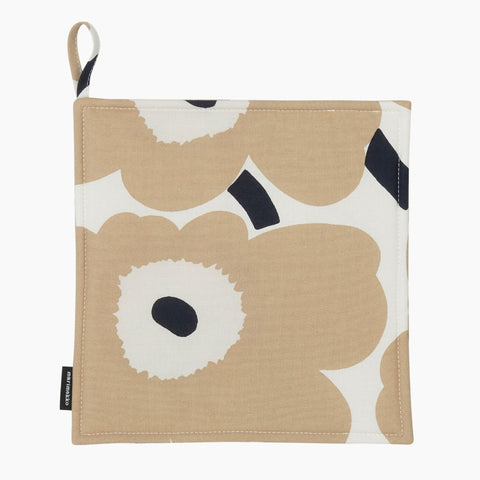 Pieni Unikko Pot Holder, off-white, beige & dark blue