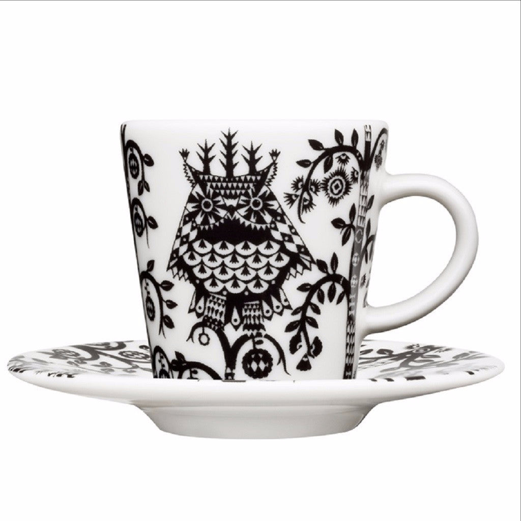 Taika balck & white espresso cup and saucer by Iittala