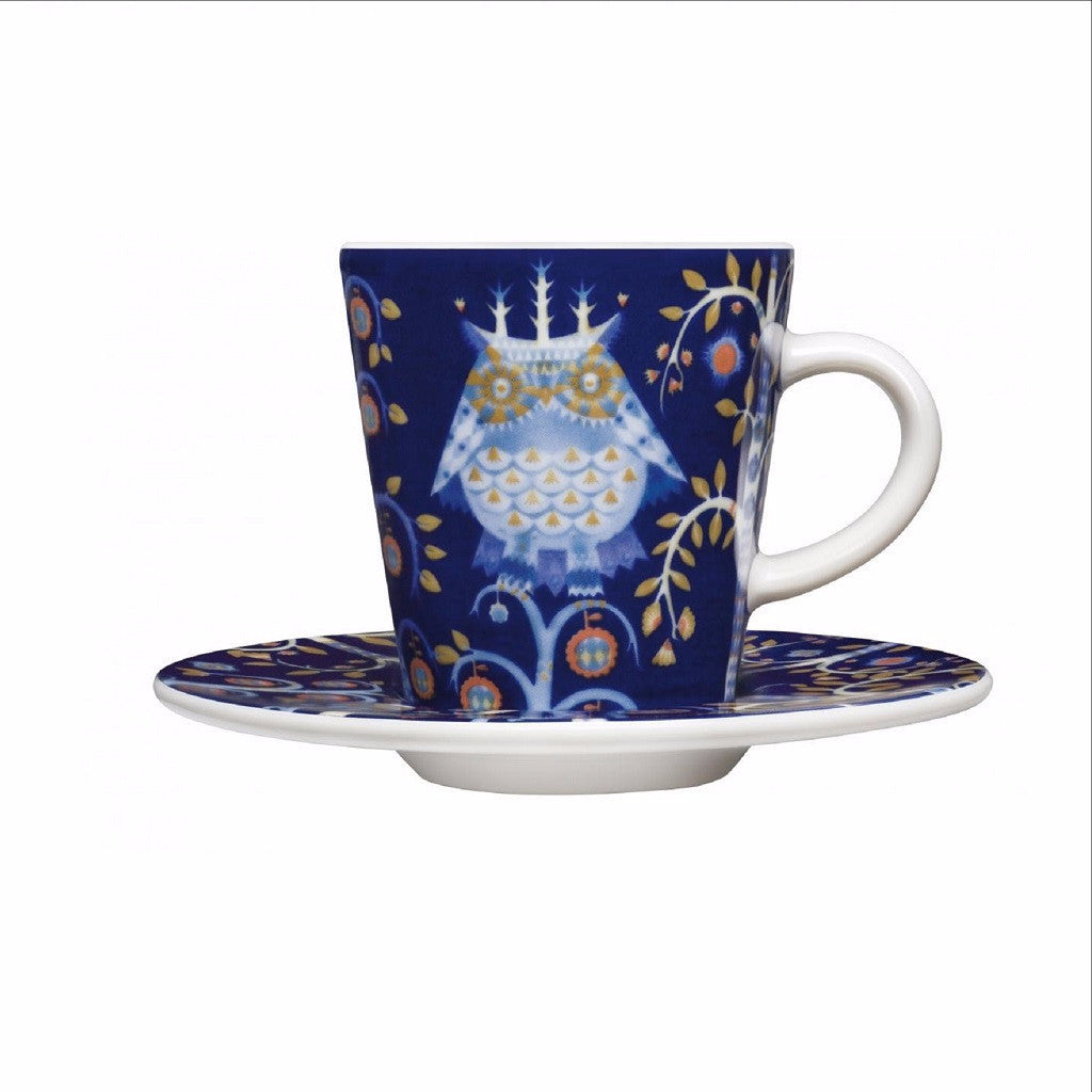 Taika blue cup and saucer for espresso by Iittala