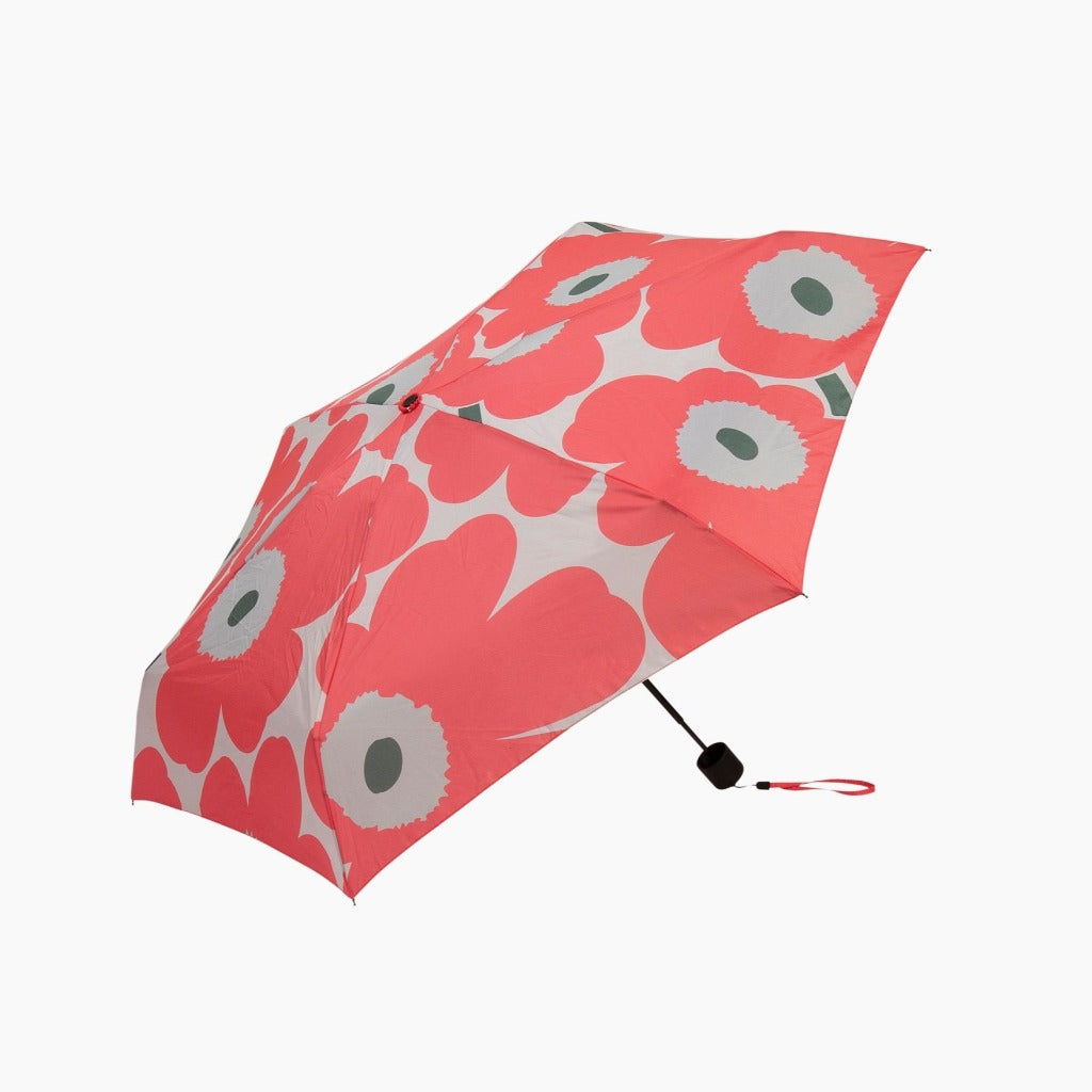 Marimekko Mini Manual Unikko Umbrella, beige, dark green & pink