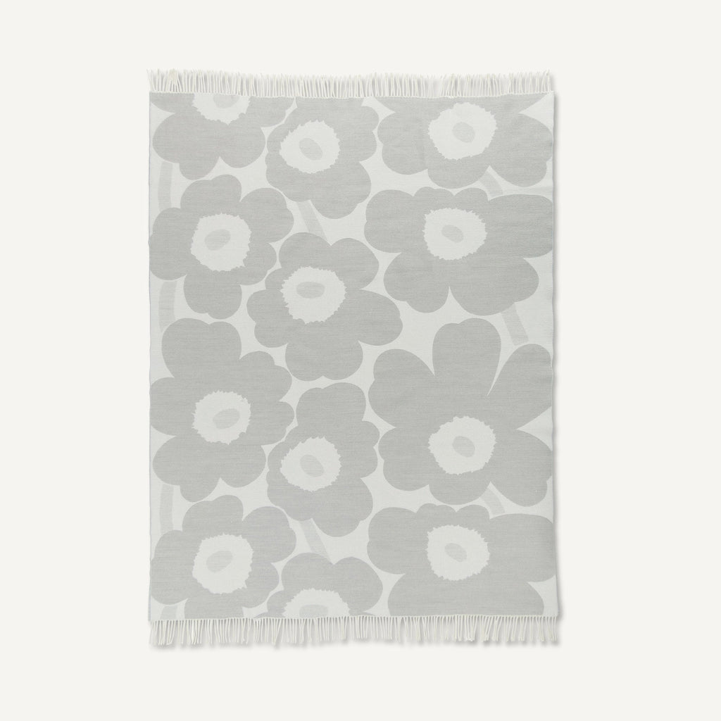 Unikko Blanket  White & Light Grey 130 x 180 cm
