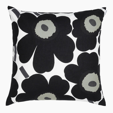 Pieni Unikko Cushion Cover, white & black 50x50 cm