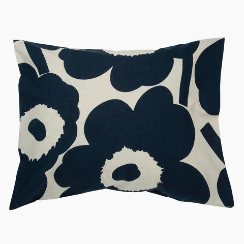 Unikko pillow case  cotton & dark blue 50 x 70 / 75 cm