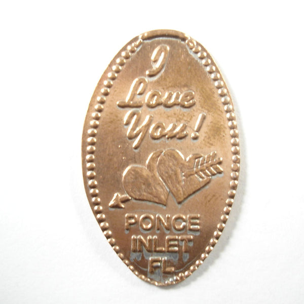 Pressed Penny: I Love You - Ponce Inlet Florida - Hearts