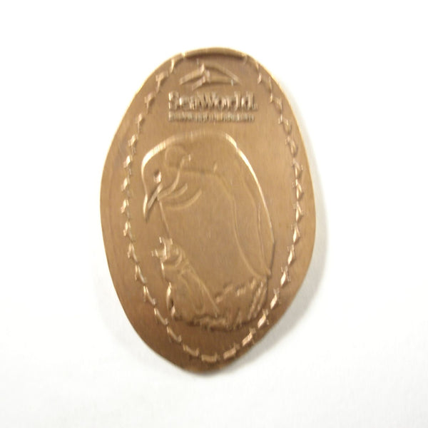 Pressed Penny: Seaworld - Mother and Baby Penguin