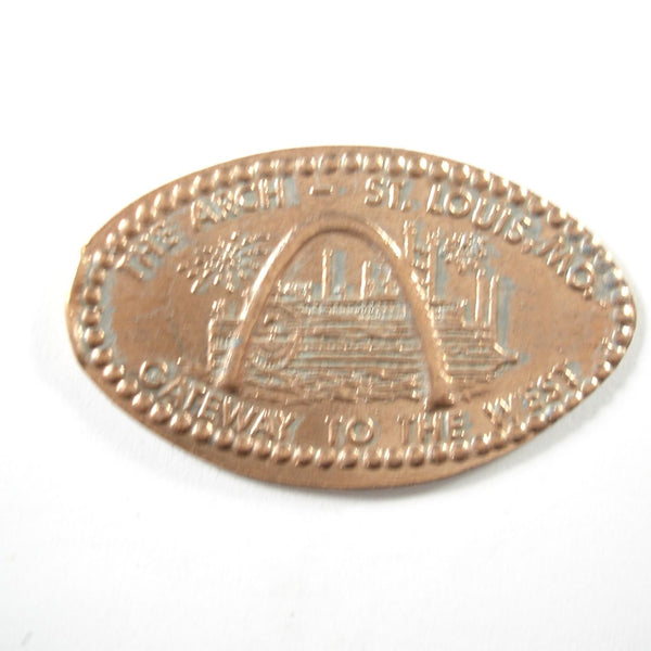 Pressed Penny: The Arch - St. Louis, MO - Gateway to the World - Arch with Paddlewheel Boat