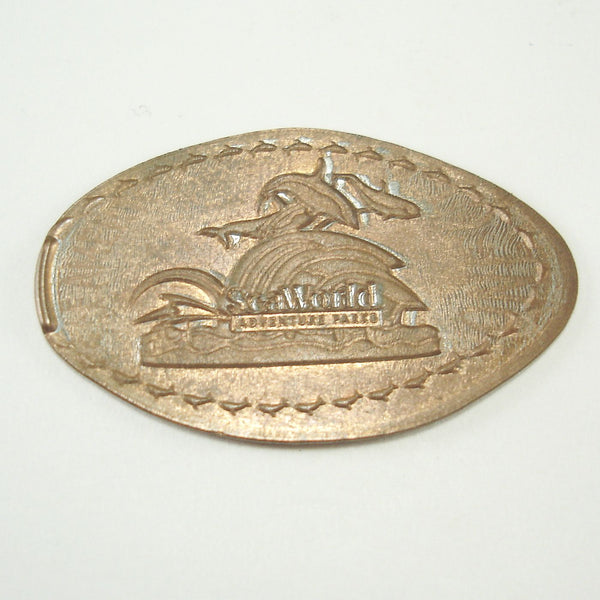 Pressed Penny: Seaworld Adventure Parks - Dolphins Swimming Logo