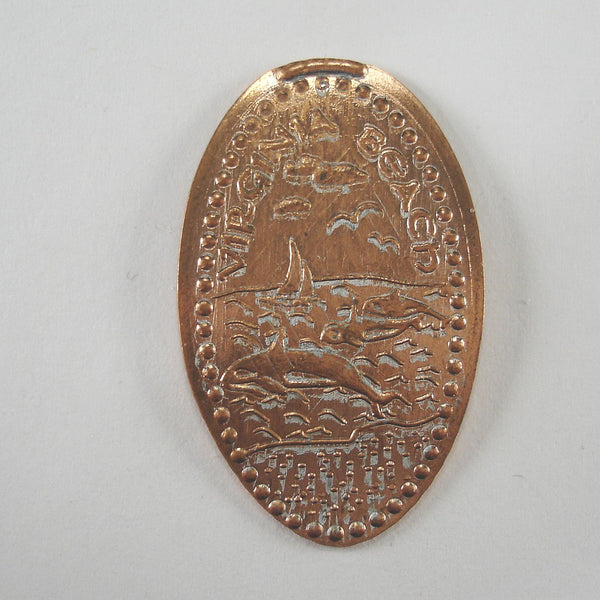 Pressed Penny: Virginia Beach - Ocean Scene with Dolphins and Sailboat