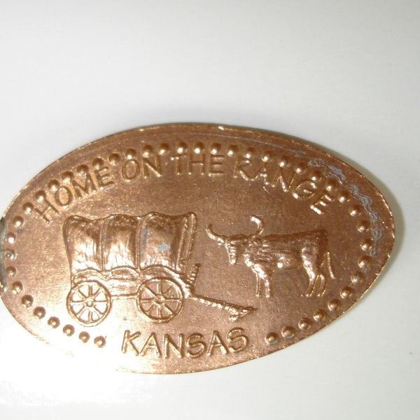 Pressed Penny: Home On The Range - Kansas - Covered Wagon and Steer