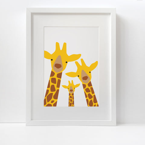 Giraffe Family Selfie Print (One Child)- Unframed