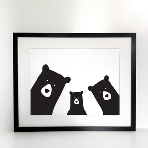 Bear Family Selfie Print - Framed
