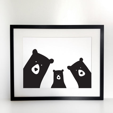 Bear Family Selfie Print - Unframed