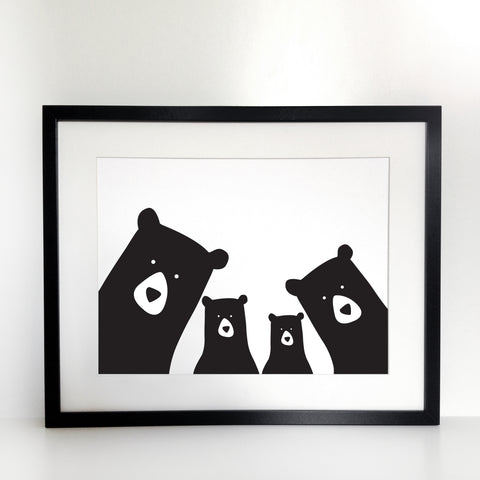 Bear Family Selfie Print (Two Children) - Unframed