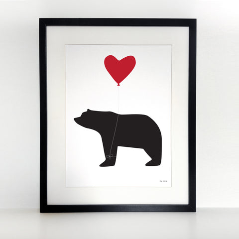 Be Mine Bear And Balloon Print - Unframed