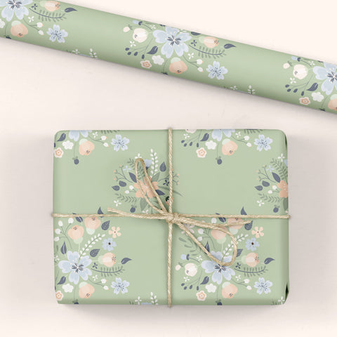 Floral Gift Wrap Green