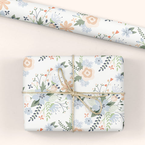 Floral Gift Wrap White