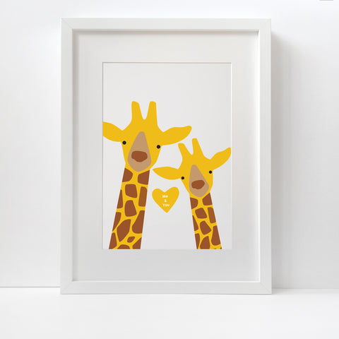 Giraffe Selfie Couple Print - Unframed