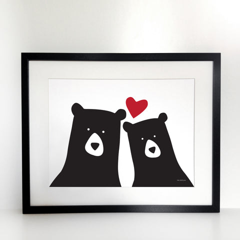 Bears Selfie Couple Print - Unframed